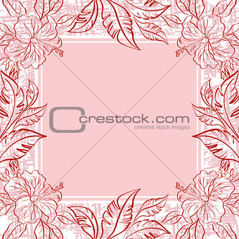 Background, frame of flowers and leaves