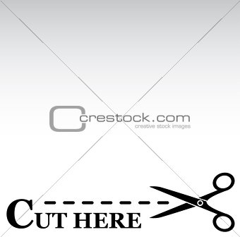 cutting line with scissors gray background