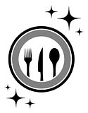 dinner icon with kitchen ware