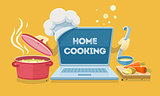 Home food cooking online recipes with laptop