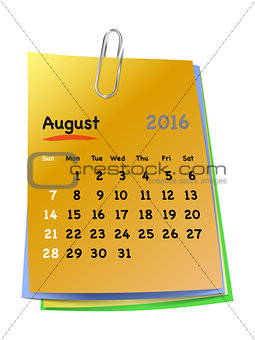 Calendar for august 2016 on colorful sticky notes