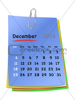 Calendar for December 2016 on colorful sticky notes