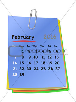 Calendar for february 2016 on colorful sticky notes