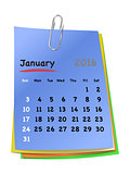 Calendar for january 2016 on colorful sticky notes
