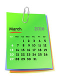 Calendar for march 2016 on colorful sticky notes