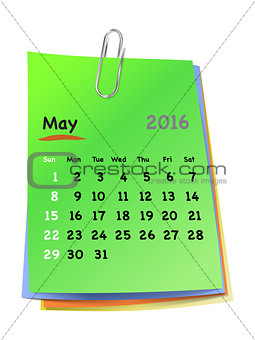 Calendar for may 2016 on colorful sticky notes