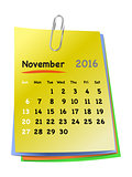 Calendar for november 2016 on colorful sticky notes