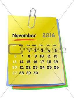 Calendar for november 2016 on colorful sticky notes
