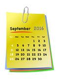 Calendar for september 2016 on colorful sticky notes
