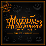 Happy Halloween orange letter in black background