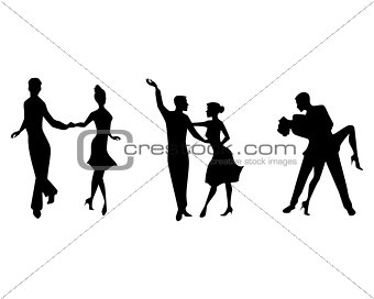 Three couples dancing