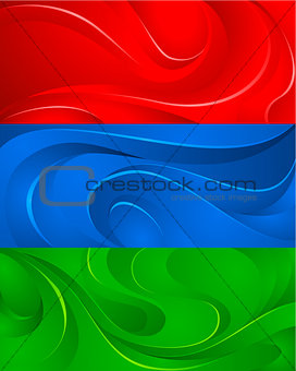 Three backgrounds with waves