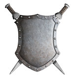coat of arms shield and two crossed swords isolated