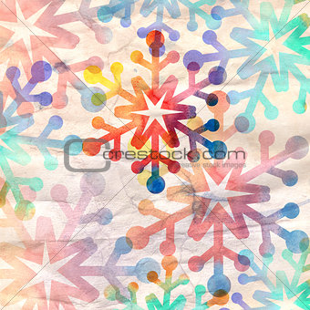 watercolor retro snowflake background