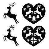 Reindeer, deer jumping, Christmas icons set