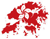Hong Kong Flag in Map Outline Illustration