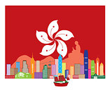 Hong Kong Skyline and Buddha Statue in HK Flag Illustration