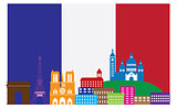 Paris Skyline in French Flag Color Illustration