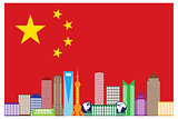Shanghai City Skyline in China Flag Illustration