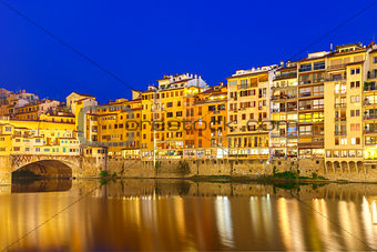 Arno and Ponte Vecchio at night, Florence, Italy