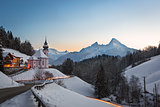 Maria Gern Church in Bavaria with Watzmann, Berchtesgaden, Germa