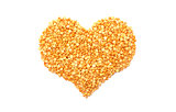Yellow split peas in a heart shape