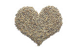 Marbled dark green lentils in a heart shape