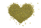 Mung beans in a heart shape