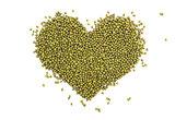Mung beans in a heart shape
