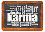 karma word cloud on blackboard