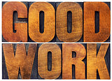 good work word abstract in wood type