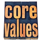 core values in wood type - ethics concept