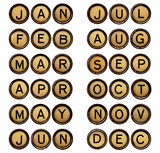 twelve  months - symbols in typewriter keys