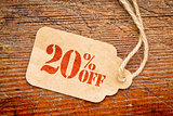 twenty percent off discount -  paper price tag