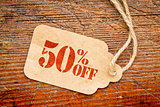 fifty percent off discount -  paper price tag