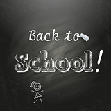 Back to School  written on a black chalkboard with white chalk.