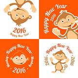 Set of funny cartoon monkey is flat. The symbol of the new year
