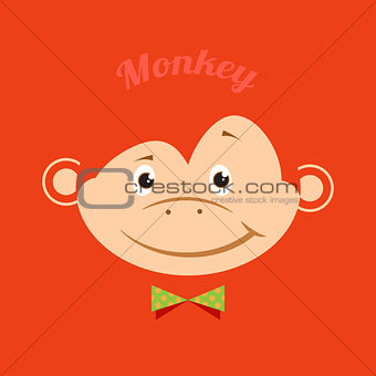Flat funny monkey with a green butterfly on an orange background