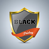 Black friday badge with ribbon