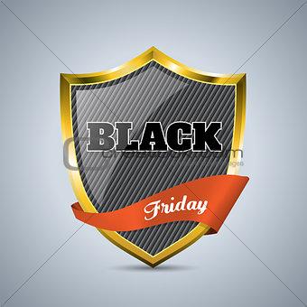 Black friday badge with ribbon