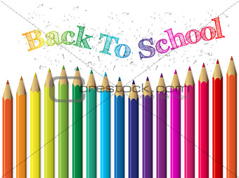 Back to school background with pencils and text