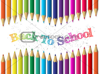 Back to school background with pencils and waving text