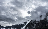 Dark cloudscape in the Pyrenees mountains
