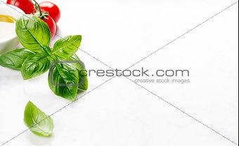 Tomatoes, olive oil and basil