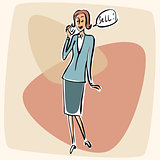 Businesswoman talking phone sell