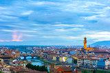 Ponte Vecchio and Palazzo Vecchio, Florence, Italy