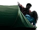 couple trekker trekking camping tent nature silhouette