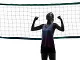 woman volleyball players isolated silhouette