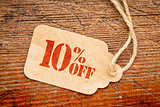 ten percent off discount -  paper price tag