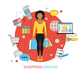 Woman doing shopping online